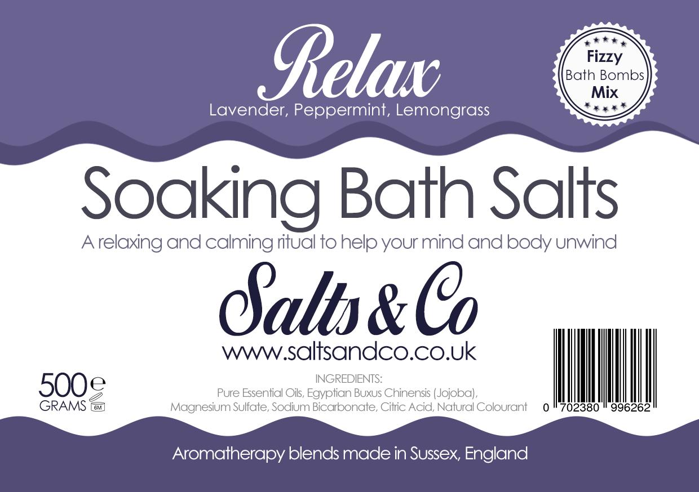 Relax Epsom Soaking Bath Salts Lavender, Peppermint, Lemongrass