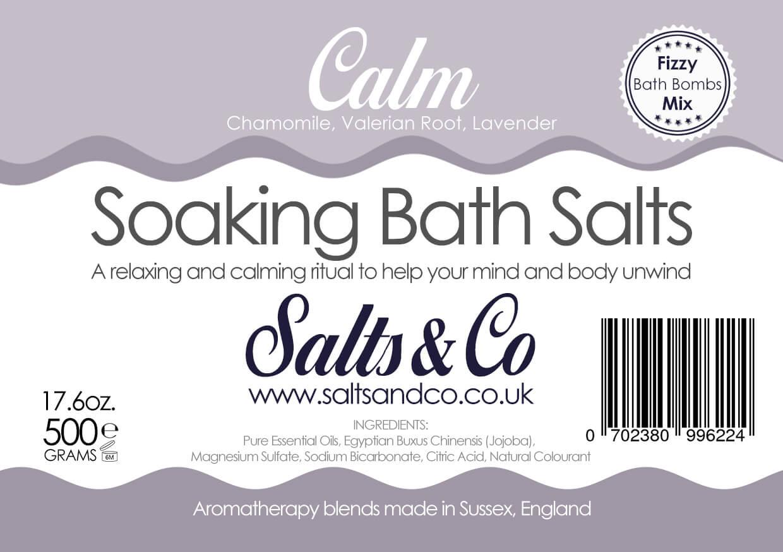 Calm Epsom Soaking Bath Salts Chamomile, Lavender & Valerian essential oils