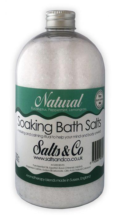 Natural Epsom Soaking Bath Salts Eucalyptus, Peppermint, Lemongrass