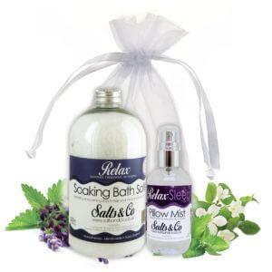 Lavender Relax - Aromatherapy Bath Salts & Pillow Spray Mist Gift Set