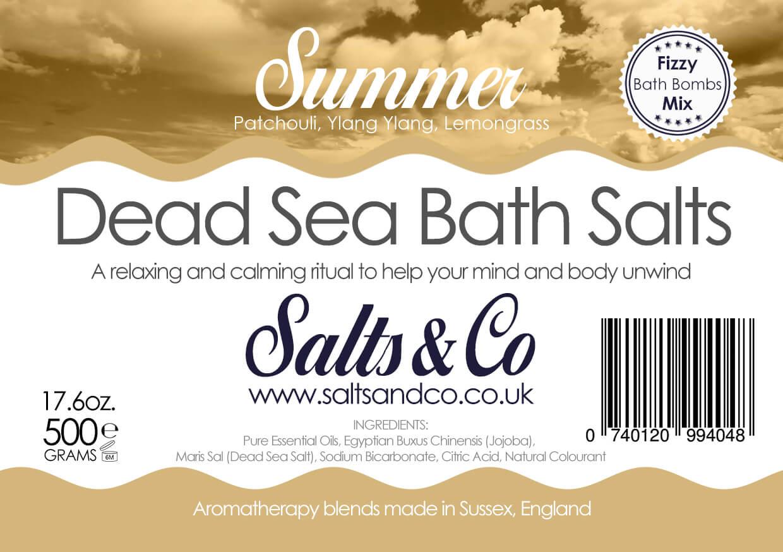 Summer Dead Sea Salts - Patchouli, Ylang Ylang, Lemongrass Essential Oils - Salts & Co Organic Natural Aromatherapy Bath Salts - 500g