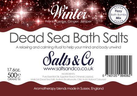 Winter Dead Sea Salts - Frankincense, Ginger & Juniper Essential Oils